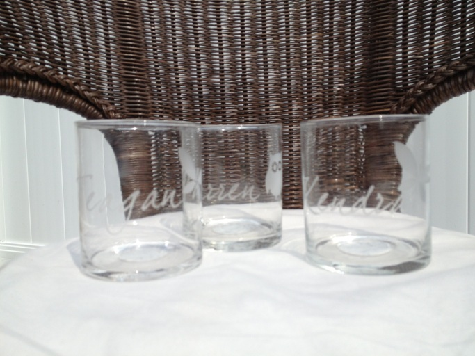 somewhere over the rainbow etched candle holders